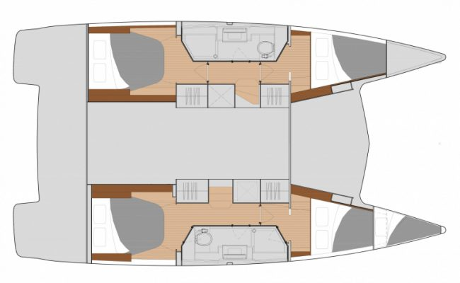 New Fountaine Pajot Isla 40 4 Cabins, 2 Heads Layout