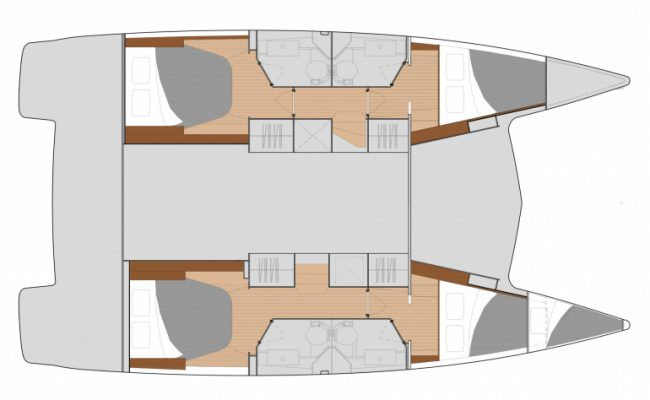 New Fountaine Pajot Isla 40 4 Cabins, 4 Heads Layout