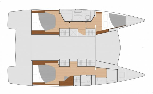 New Fountaine Pajot Isla 40 3 Cabins, 2 Heads Layout