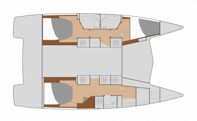 New Fountaine Pajot Isla 40 3 Cabins, 3 Heads Layout