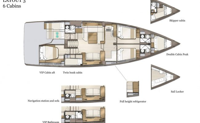 Jeanneau Yachts 60 6 Cabins, 3 Heads Layout