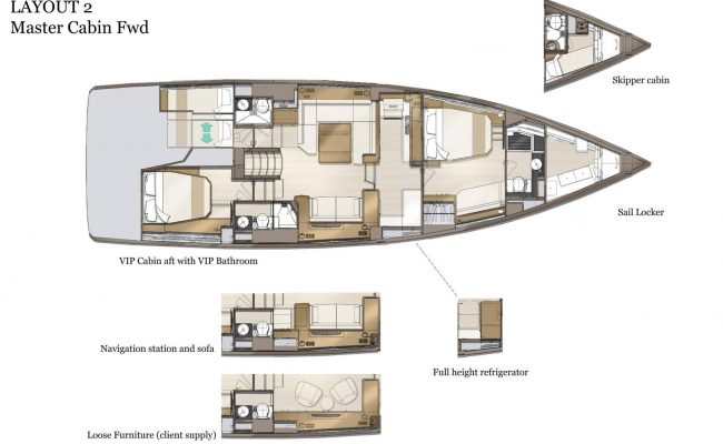 Jeanneau Yachts 60 3 Cabins, 3 Heads Layout