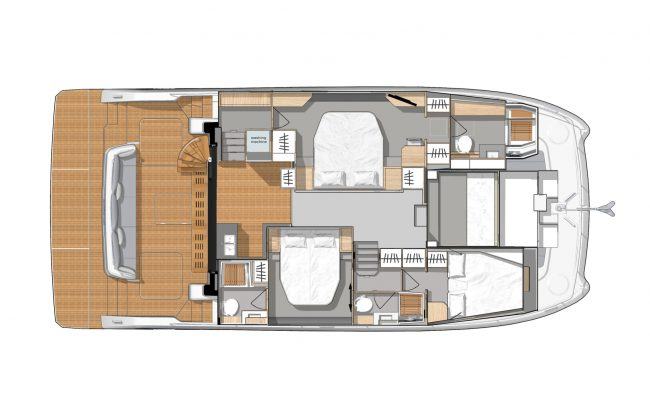 Fountaine Pajot My44 3 Cabins, 3 Heads Layout