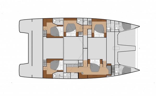Fountaine Pajot Power 67 7 Cabins, 7 Heads Layout