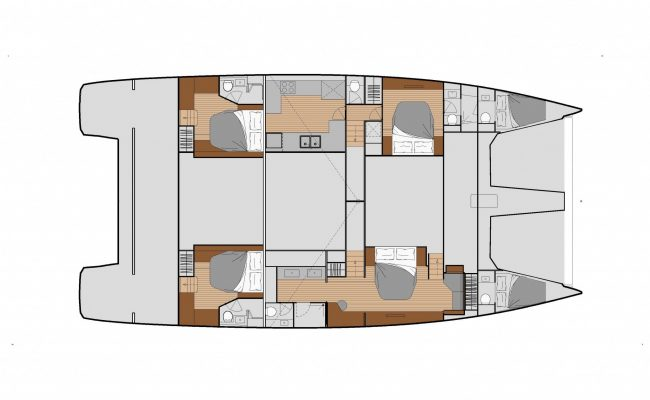 Fountaine Pajot Power 67 6 Cabins, 7 Heads Layout