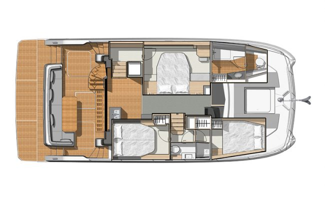 Fountaine Pajot My40 3 Cabins, 2 Heads Layout