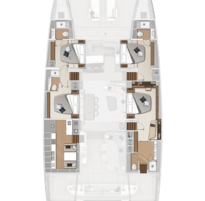 Lagoon Sixty 7 4 Cabins, 4 Heads Layout