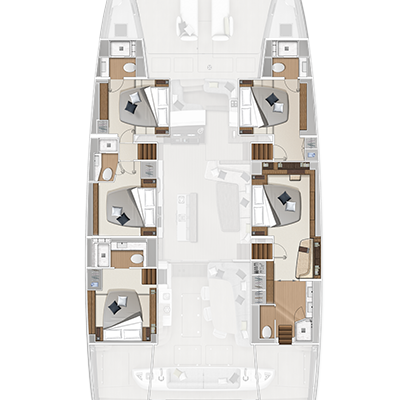 Lagoon Sixty 7 5 Cabins, 5 Heads Layout