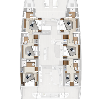 Lagoon Sixty 7 6 Cabins, 6 Heads Layout
