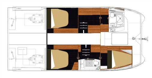 Fountain Pajot My37 3 Cabins, 2 Heads Layout