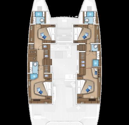 Lagoon 55 Catamaran 4 Cabins, 4 Heads Layout