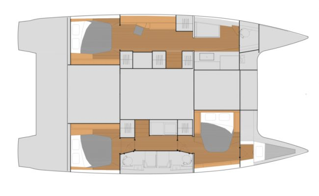 Fountaine Pajot Tanna 47 3 Cabins, 3 Heads Layout