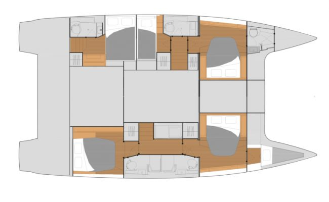 Fountaine Pajot Tanna 47 5 Cabins, 5 Heads Layout