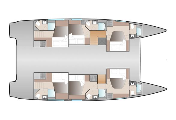 Fountaine Pajot 51 6 Cabins, 6 Heads Layout
