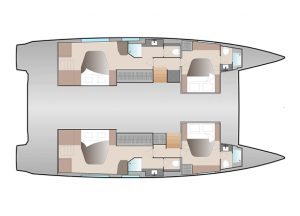 Fountaine Pajot 51 4 Cabins, 4 Heads Layout