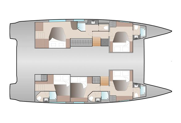 Fountaine Pajot 51 5 Cabins, 5 Heads Layout