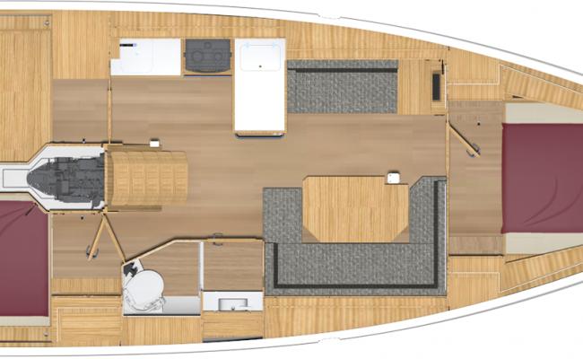 Bavaria Cruiser 38 2 Cabins, 1 Head, 2 Singles Layout