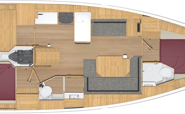 Bavaria Cruiser 38 2 Cabins, 2 Heads, 2 Singles Layout
