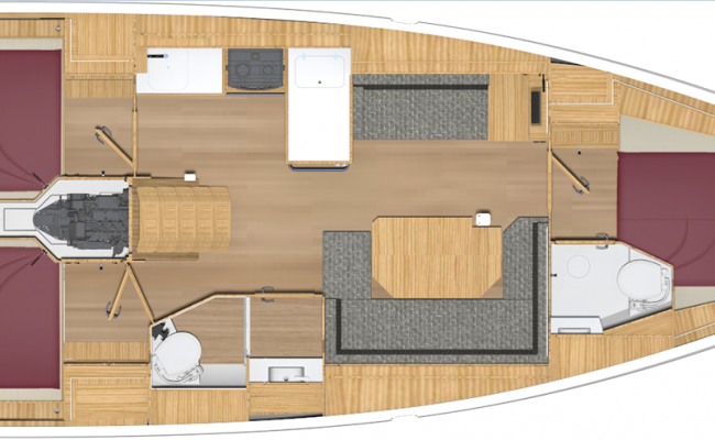 Bavaria Cruiser 38 3 Cabins, 2 Heads, 3 Singles Layout