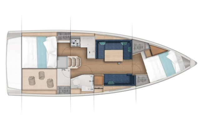 Jeanneau Sun Odyssey 380 2 Cabins, 1 Head Layout