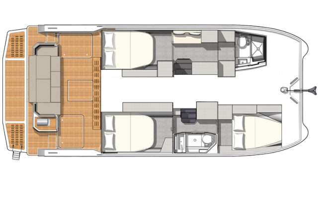 MY4.S 3 Cabins, 2 Heads Layout