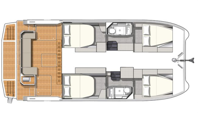 MY4.S 4 Cabins, 2 Heads Layout
